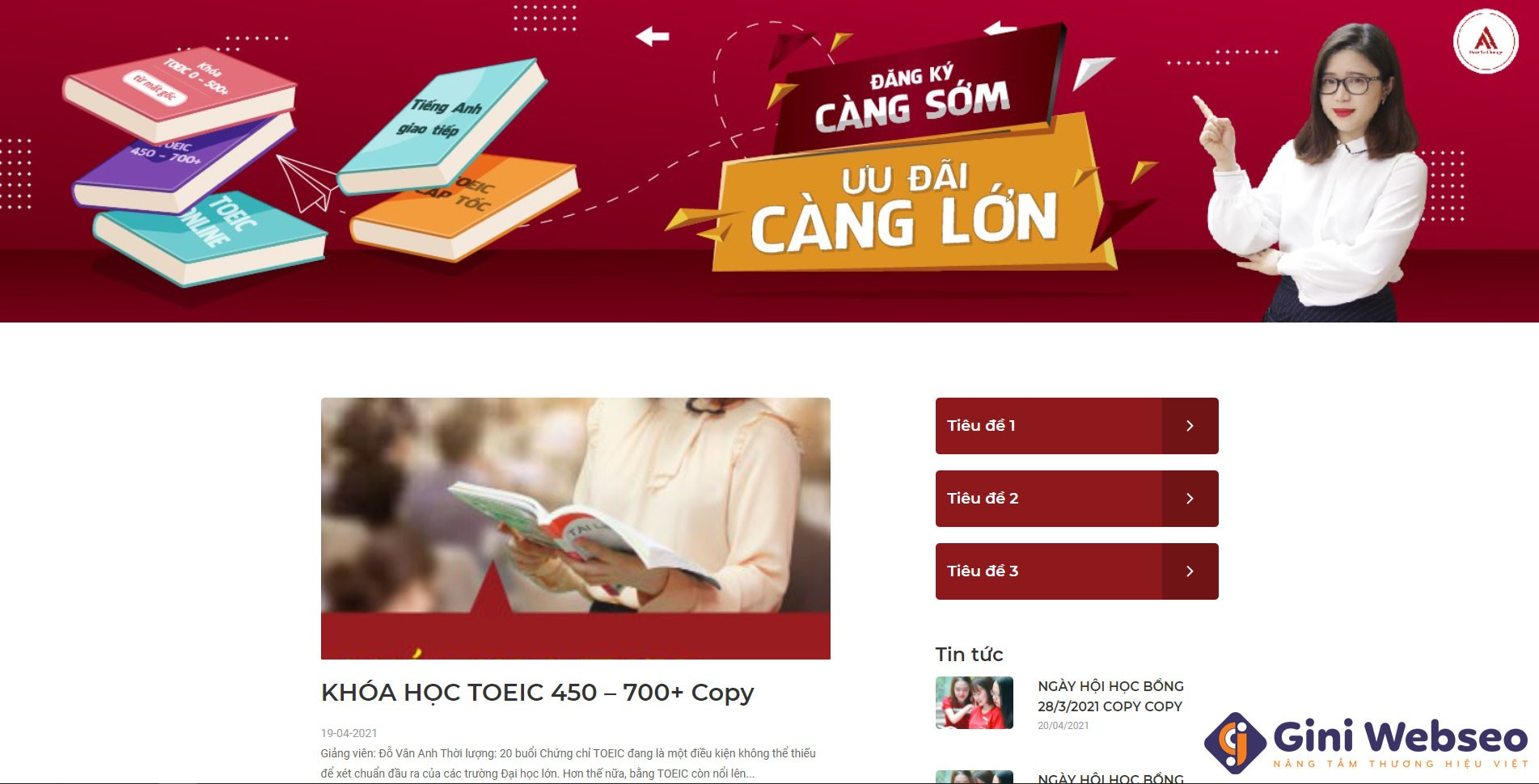 Thiết kế website trung tâm tiếng Anh ATHENA