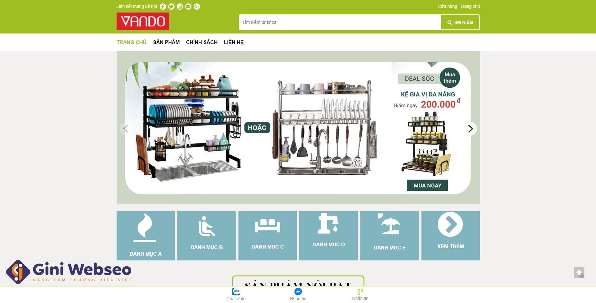 Thiết kế website đồ gia dụng VANDO