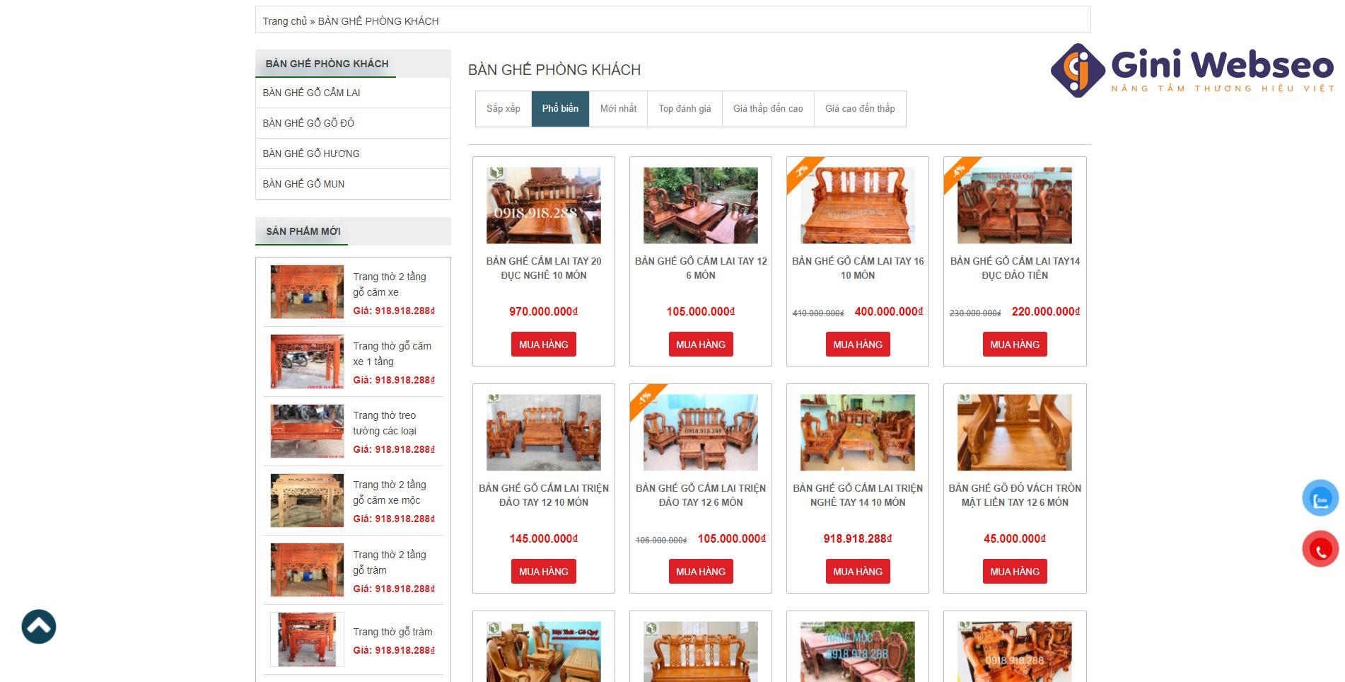 Thiết kế website nội thất đồ gỗ Hùng Thắng