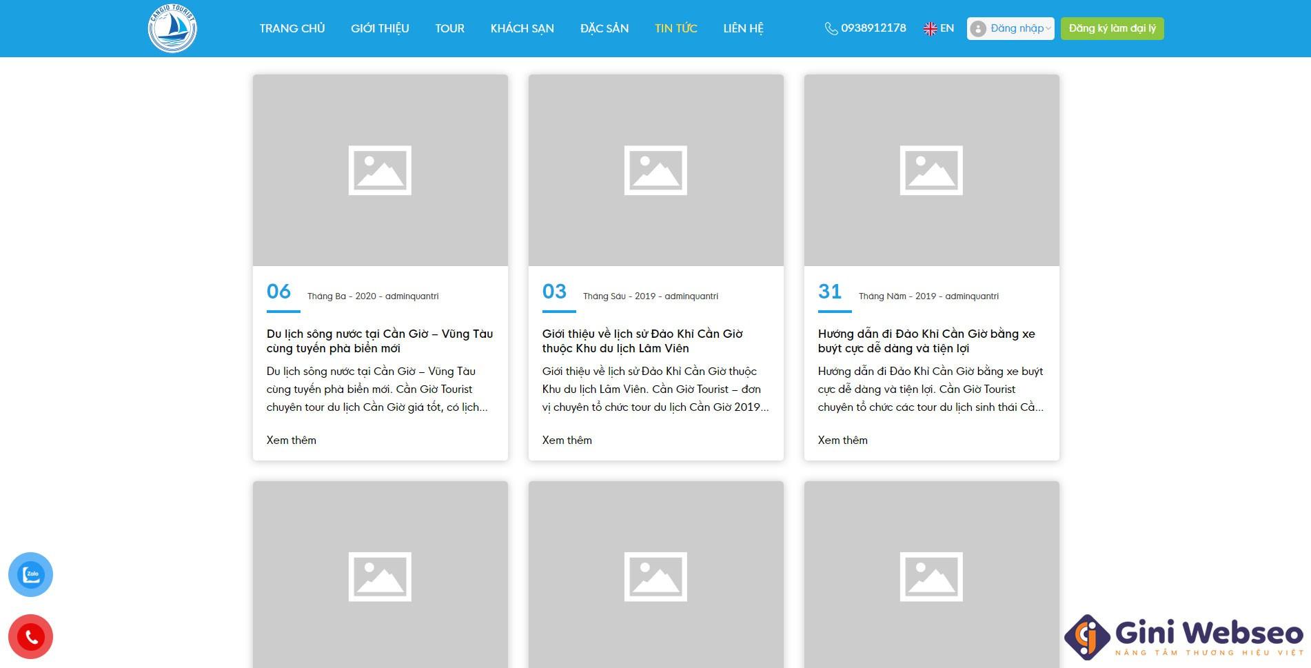 Thiết kế website du lịch Cần Giờ Tourist