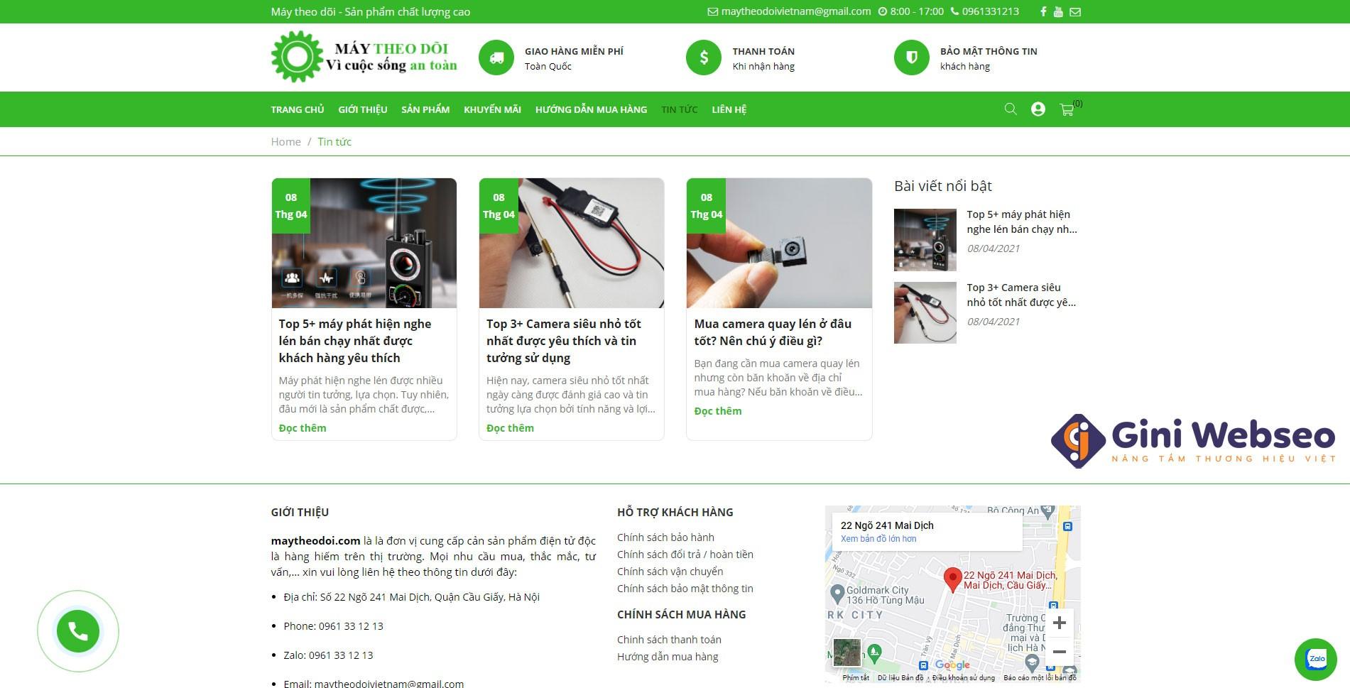 Thiết kế website thiết bị máy theo dõi