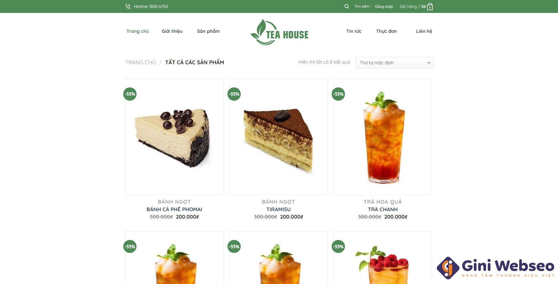 Thiết kế website đồ uống TeaHouse