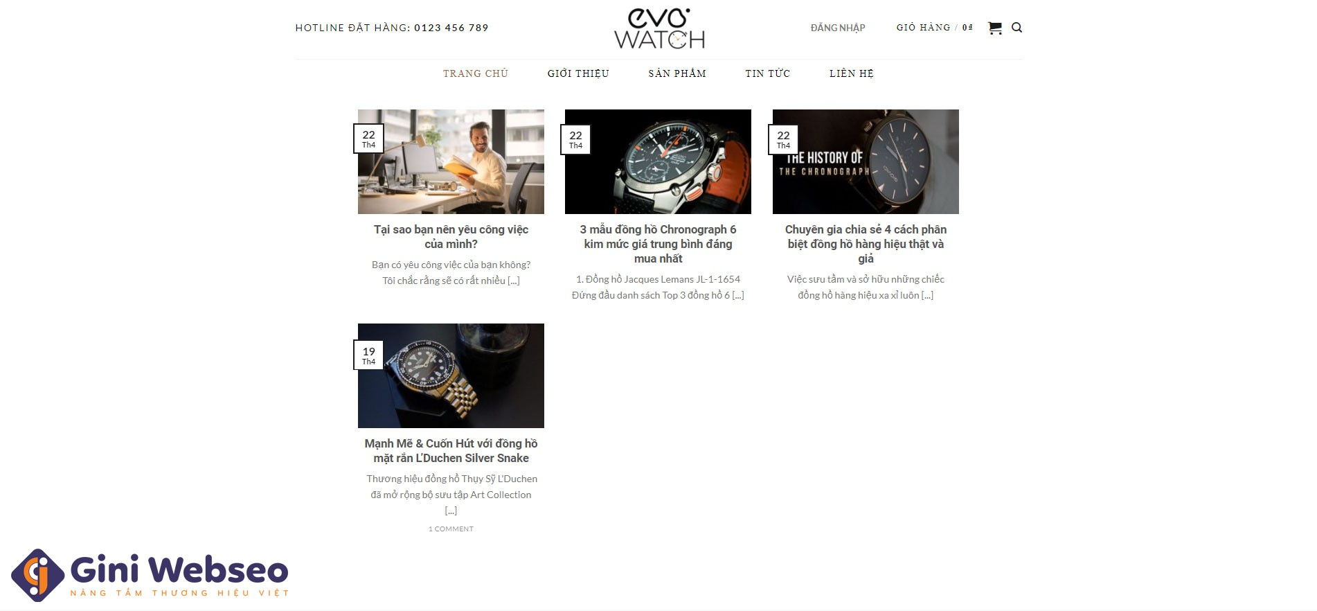 Thiết kế website thời trang EVO WATCH
