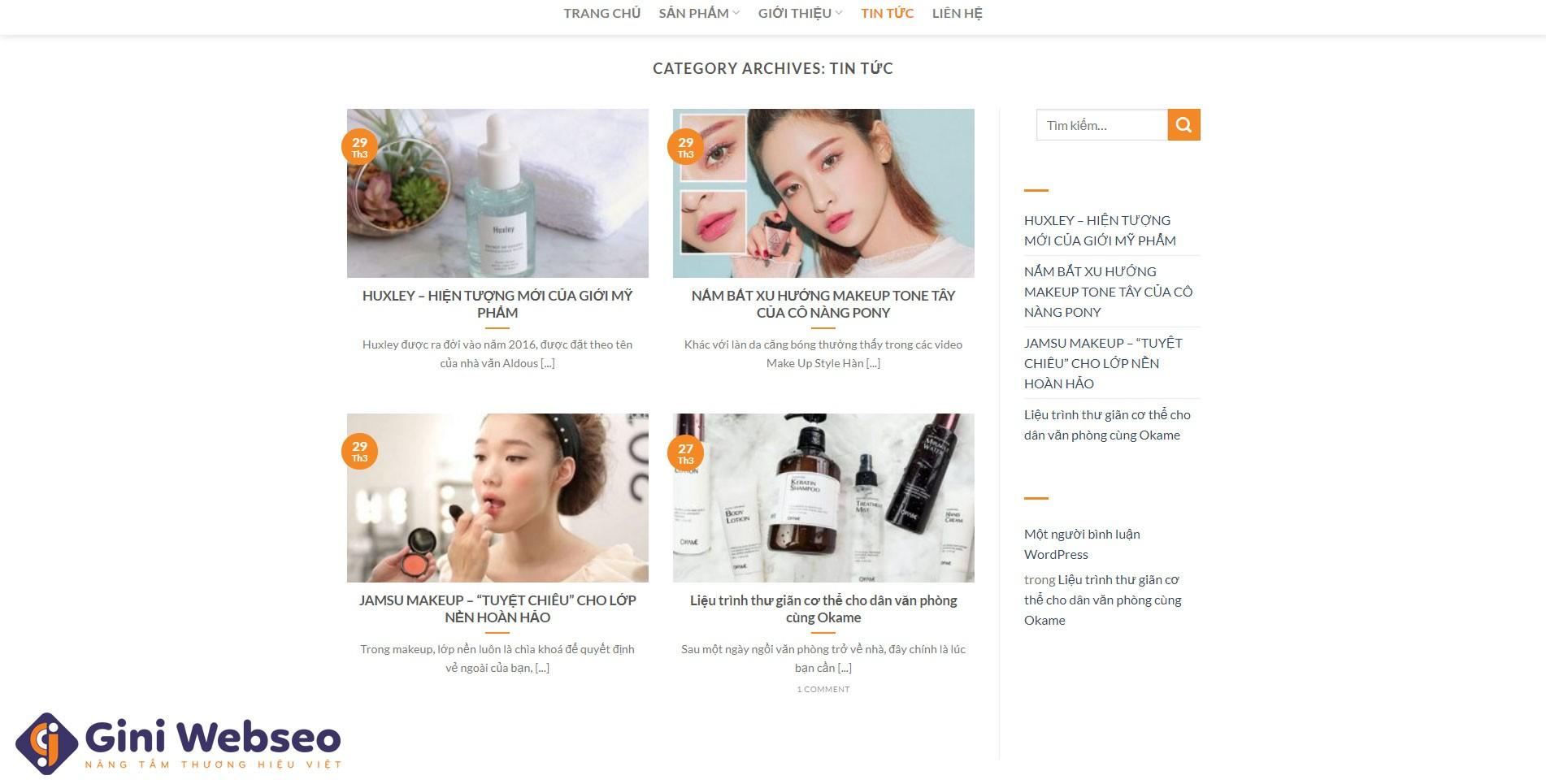 Thiết kế website mỹ phẩm EVO