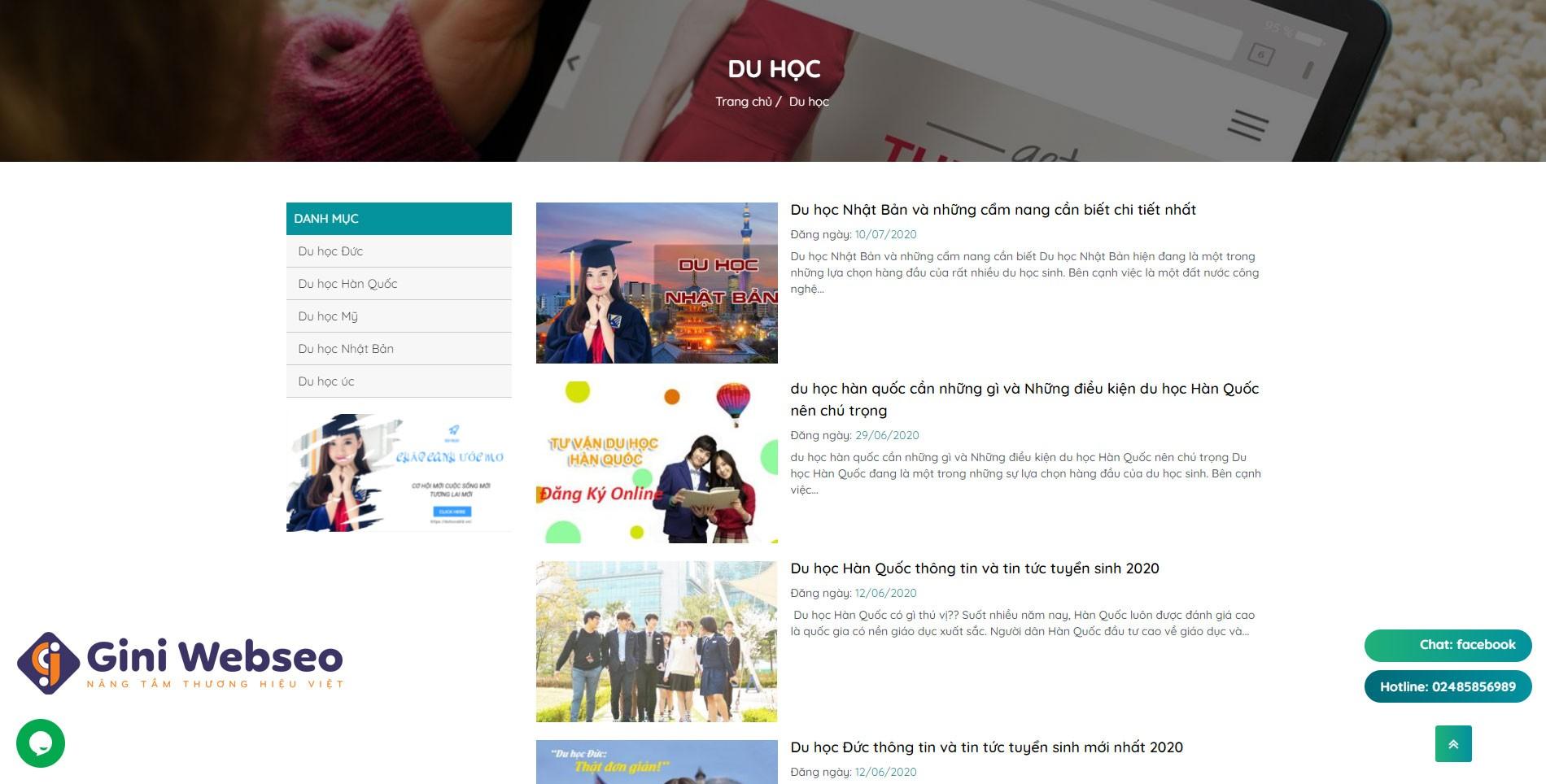Thiết kế website công ty Du học xuất khẩu lao động
